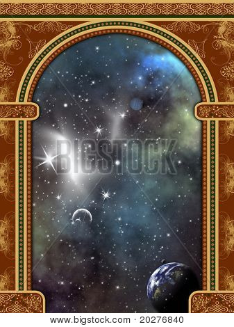 Arch with ornaments and space scene