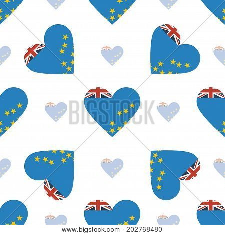 Tuvalu Flag Patriotic Seamless Pattern. National Flag In The Shape Of Heart. Vector Illustration.