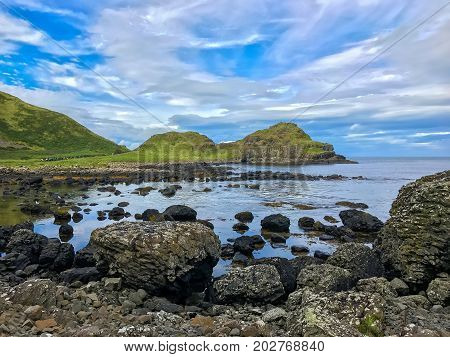 Beautiful scenery at Giants Causeway in Northern Ireland in the county of Antrim in the United Kingdom Europe