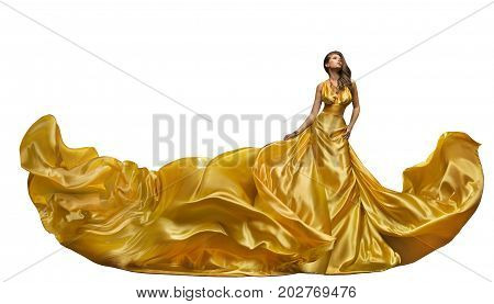 Fashion Model Dress Woman Dance in Long Gown Waving Golden Silk Fabric Beautiful Girl on White