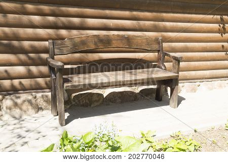 photo on a beautiful old wooden bench
