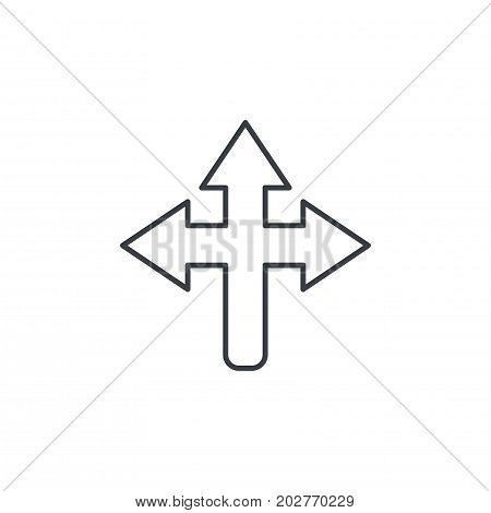 Arrow cross, three-way thin line icon. Linear vector illustration. Pictogram isolated on white background