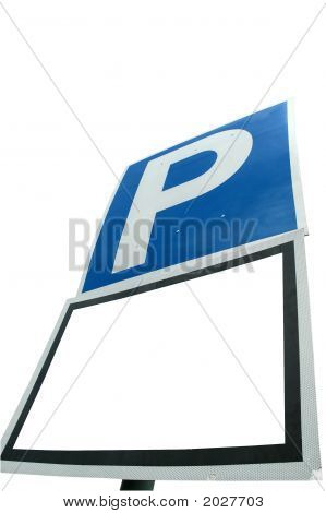 Parking With Blank White Sign Isolated