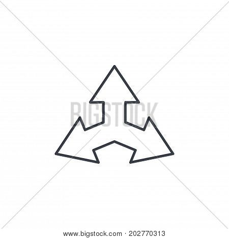 Three-way direction arrow thin line icon. Linear vector illustration. Pictogram isolated on white background
