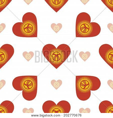 Kyrgyzstan Flag Patriotic Seamless Pattern. National Flag In The Shape Of Heart. Vector Illustration
