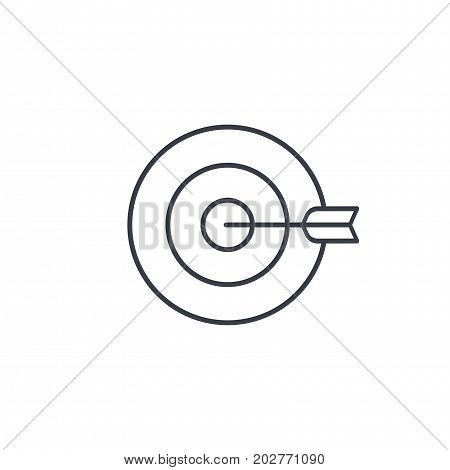 target, goal, success marketing concept, arrow center thin line icon. Linear vector illustration. Pictogram isolated on white background