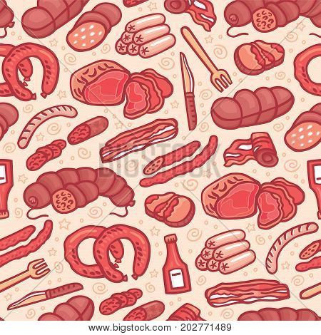 Cute hand drawn illustration of different types of meat. Doodle texture with sausages and wurst in cartoon style. Perfect background for wrapping and packaging