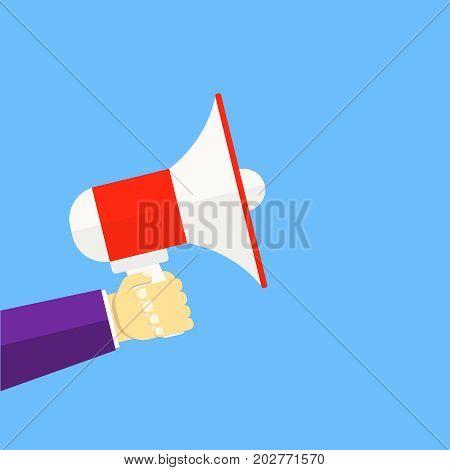 Alert, announcement,warning, advertising concept Talking, shouting in loudspeaker in flat style Loudspeaker in a man's hand