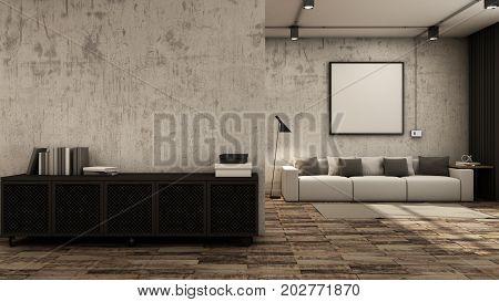 Livingroom interior design loft black metal cabinet cement wall wood floors - 3D render