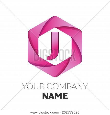 Realistic Letter J vector logo symbol in the colorful hexagonal on white background. Vector template for your design
