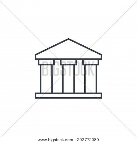 public bank building, university or museum, classic greek architecture thin line icon. Linear vector illustration. Pictogram isolated on white backgroundfog