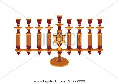 Decorative Menorah isolated against white background
