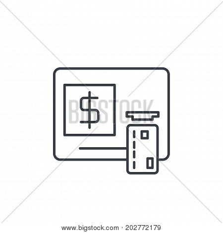 ATM, banking, dollar cash, card money, finance thin line icon. Linear vector illustration. Pictogram isolated on white background