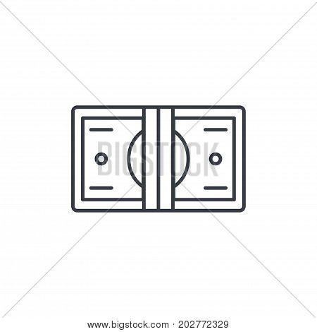 banking, money bundle, dollar banknotes thin line icon. Linear vector illustration. Pictogram isolated on white background