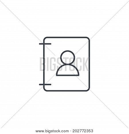 Contacts, address book thin line icon. Linear vector illustration. Pictogram isolated on white background