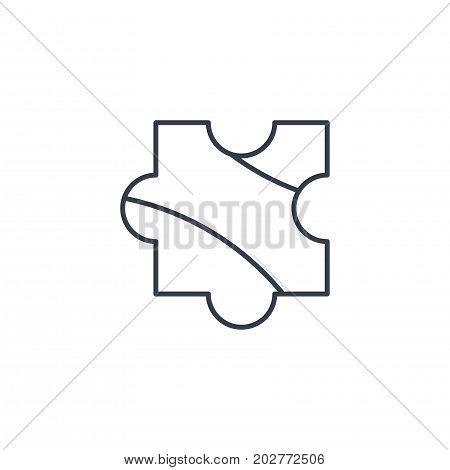 puzzle part, jigsaw piece, solution thin line icon. Linear vector illustration. Pictogram isolated on white background