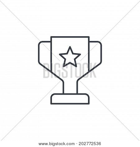 1st place golden trophy cup thin line icon. Linear vector illustration. Pictogram isolated on white background