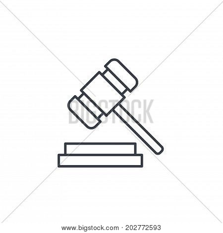 auction hammer, law and justice symbol, verdict thin line icon. Linear vector illustration. Pictogram isolated on white background