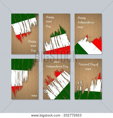 Italy Patriotic Cards For National Day. Expressive Brush Stroke In National Flag Colors On Kraft Pap