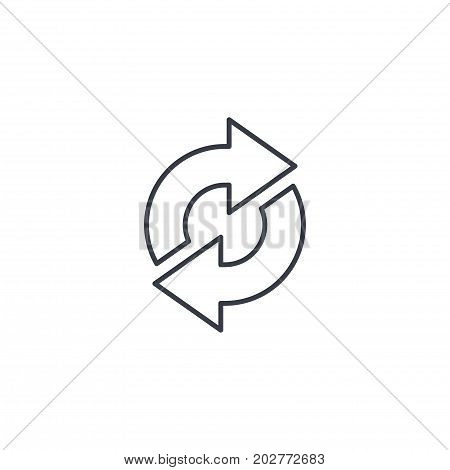 Refresh Arrows, sync, exchange thin line icon. Linear vector illustration. Pictogram isolated on white background