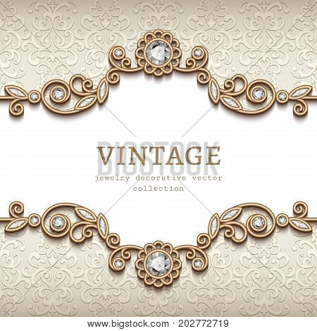 Vintage card with diamond jewelry decoration gold flourish frame elegant vignette wedding invitation or announcement template