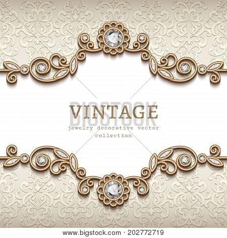 Vintage card with diamond jewelry decoration gold flourish frame elegant vignette wedding invitation or announcement template