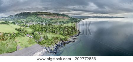 Aerial view of the beautiful village of Benderloch with dramatic skys, Argyll, Scotland