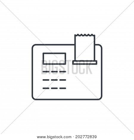 cash register thin line icon. Linear vector illustration. Pictogram isolated on white background
