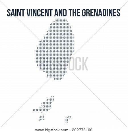 Vector Dotted Map Of Saint Vincent And The Grenadines Isolated On White Background .