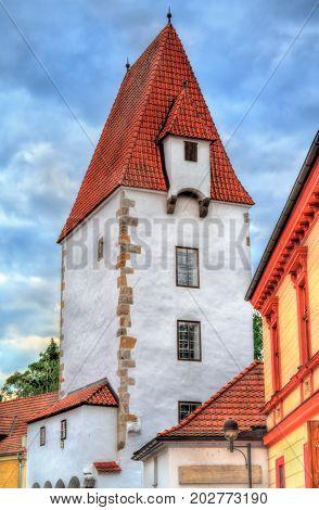 Rabenstejnska vez, a tower in the old town of Ceske Budejovice - South Bohemia, Czech Republic
