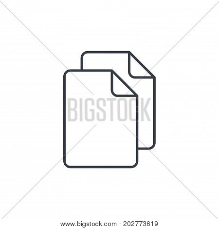 paper document, file copy thin line icon. Linear vector illustration. Pictogram isolated on white background