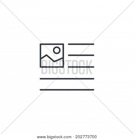 picture, image and text content, newspaper article thin line icon. Linear vector illustration. Pictogram isolated on white background