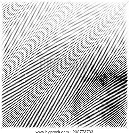 Abstract engraving grunge texture. Wavy etching watercolor background. Vector illustration