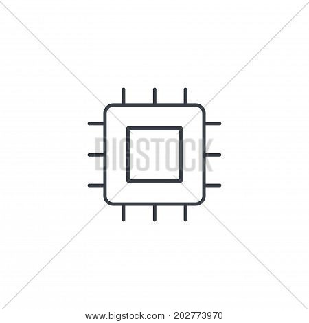 processor, motherboard, chip thin line icon. Linear vector illustration. Pictogram isolated on white background