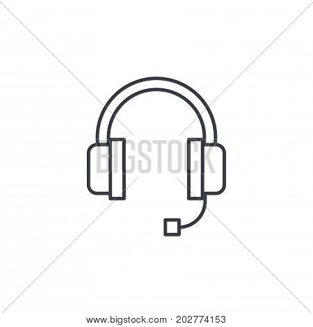 technical support, headphones microphone, operator thin line icon. Linear vector illustration. Pictogram isolated on white background