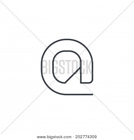 email symbol, at thin line icon. Linear vector illustration. Pictogram isolated on white background