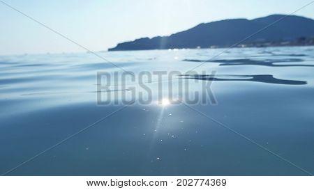 Mountain sea. Water sea blue background nature. Sea waves beautiful background