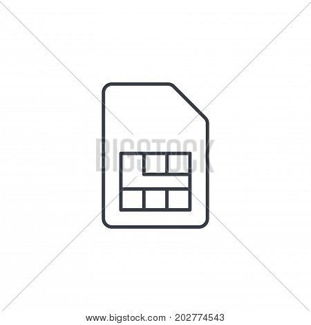 SIM card thin line icon. Linear vector illustration. Pictogram isolated on white background