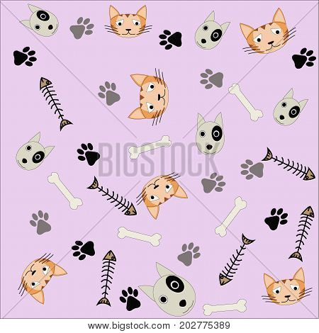 Pattern background of dog,cat,bone,fish bone and footprint on a pink background.