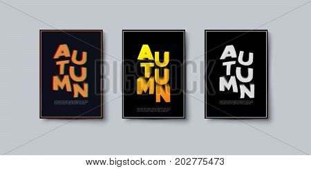 Abstract autumn covers design. Vector creative illustration. A4 paper size autumnal booklets. Contemporary typographical art posters.