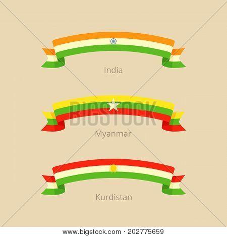Ribbon With Flag Of India, Myanmar And Kurdistan.