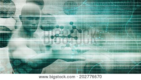 Research and Development with Doctor Viewing Molecule Structure 3D Illustration Render