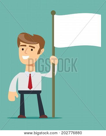 business and advertisement concept - smiling businessman holding flagpole with flag