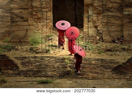 Myanmar Three novices spread a red umbrella and walked into the pagoda.