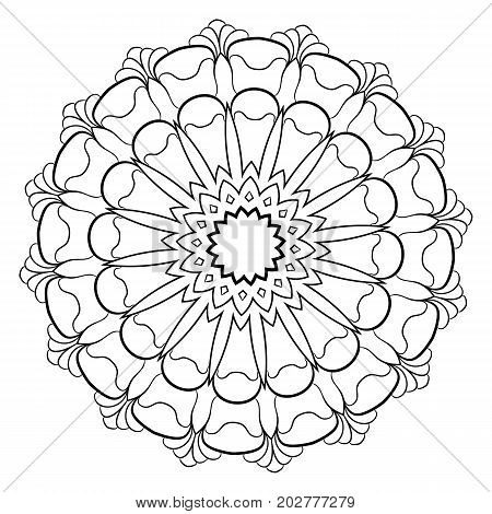 A beautiful monochrome mandala. A pattern for a color book. Picture for the album. Template for printing. Image for meditation. Coloring element.