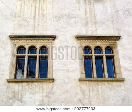 The old windows of a fifteenth-century fortress