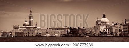 San Giorgio Maggiore church panorama in Venice, Italy.