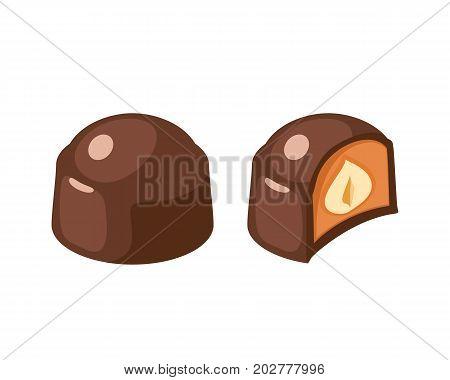 Chocolate covered bonbon filling hazelnut nougat. Vector illustration candy flat icon isolated on white.