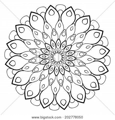 A beautiful monochrome mandala. Hexagonal star. A pattern for a color book. Picture for the design of the album. Template for printing. Image for relaxation and meditation.