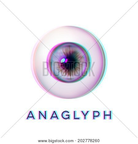 Anaglyph concept. Realistic eyeball. Human eye. Vector illustration icon isolated on white.